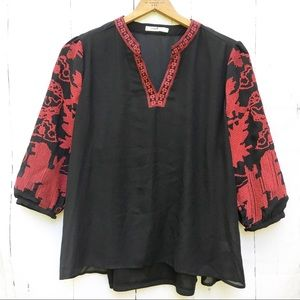 Hazel Embroidered Blouse With Cami Boho Sleeves